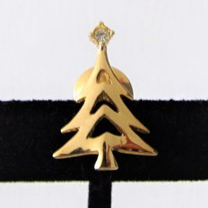 VINTAGE AVON CHRISTMAS TREE GOLD TONE PIN
